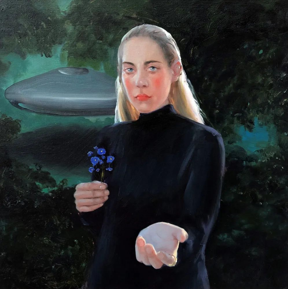 Jenna Gribbon|Silver Tongue, 2019, Oil on canvas, 45.7 x 45.7 cm